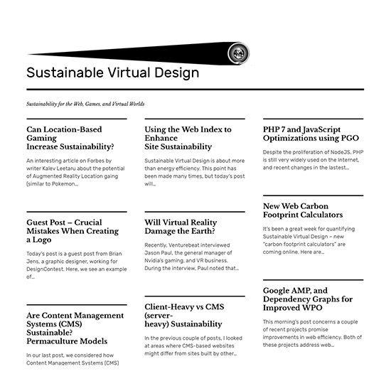 sustainable virtual design, a theory for best practices for web sustainability by pete markiewicz