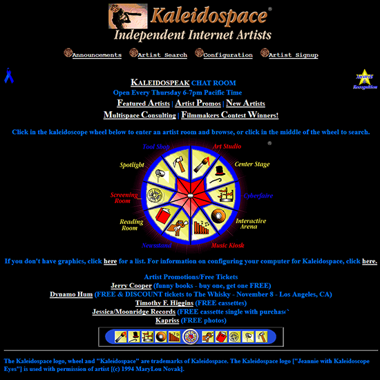 legacy sites, including kaleidospace 1996